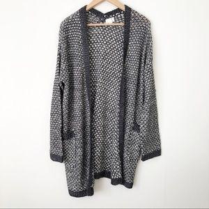 Caslon Textured Woven Knit Open Long Cardigan